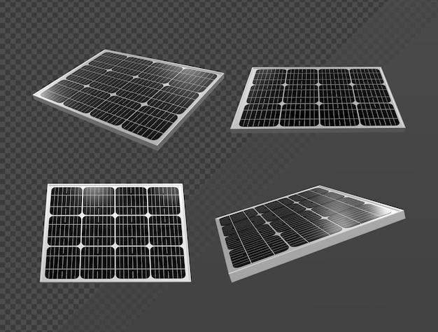 Representación 3d de pequeños paneles solares brillantes desde varias perspectivas
