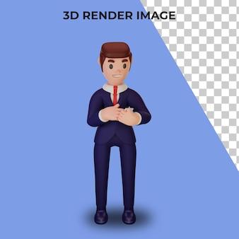 Representación 3d de personaje con concepto de negocio