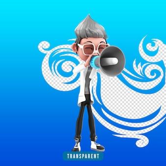 Representación 3d del personaje médico con megáfono