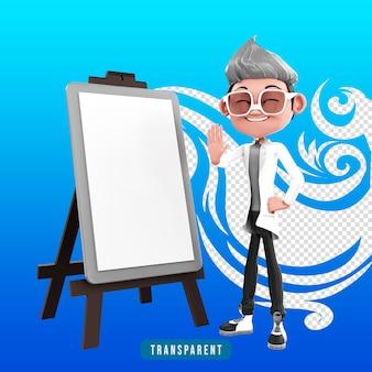 Representación 3d del personaje médico de presentación
