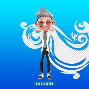 Representación 3d del personaje médico sonriente