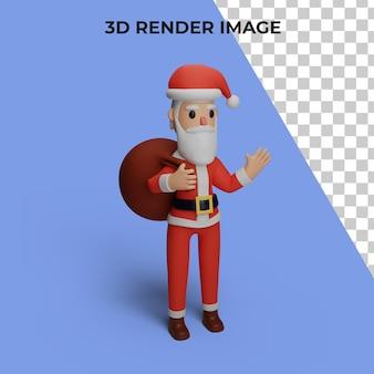 Representación 3d del personaje de santa con concepto de navidad y año nuevo