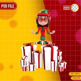 Representación 3d de personajes elfos y regalo de navidad.