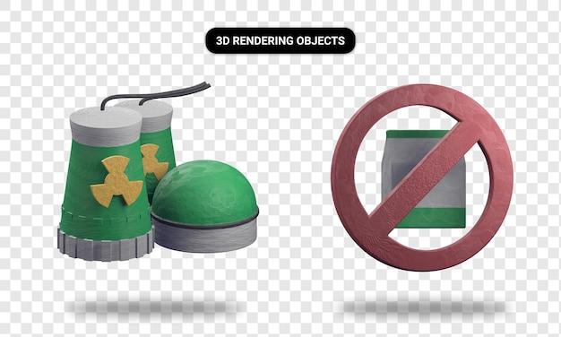 Representación 3d de la planta de energía nuclear y sin plástico