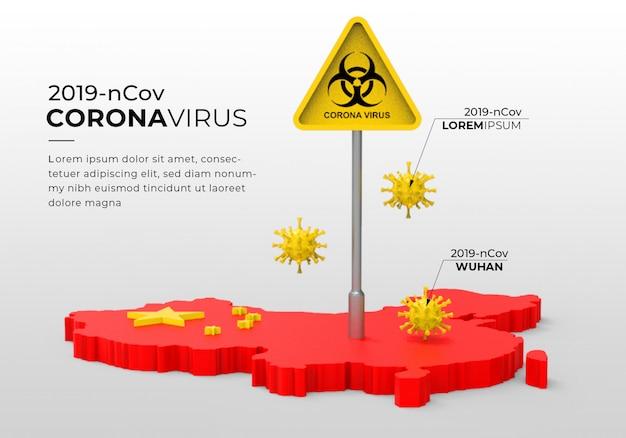 Representación 3d de la plantilla infográfica del virus corona