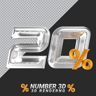 Representación 3d de plata número 20