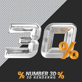 Representación 3d de plata número 30