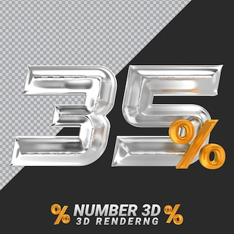 Representación 3d de plata número 35