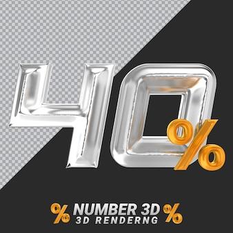 Representación 3d de plata número 40