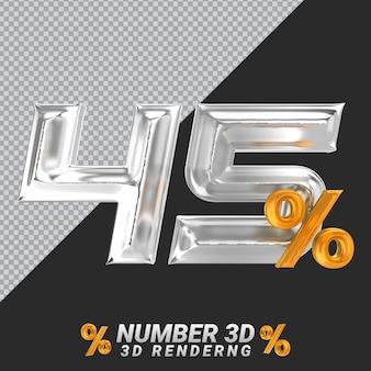 Representación 3d de plata número 45
