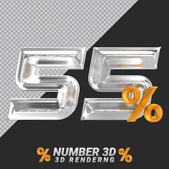 Representación 3d de plata número 55