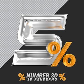 Representación 3d de plata número 5