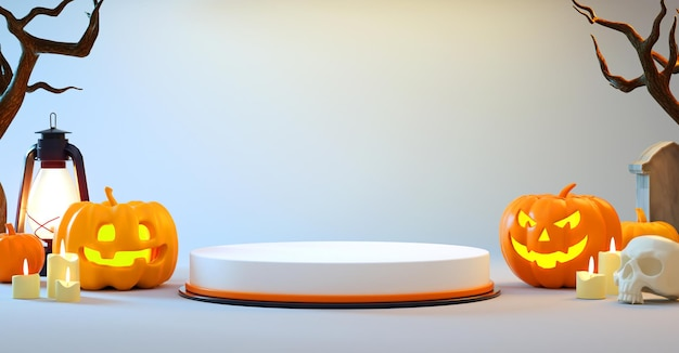 Representación 3d de una plataforma de podio de halloween con calabazas sobre fondo blanco para la presentación de cosas