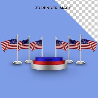 Representación 3d del podio con el concepto del día de la independencia de estados unidos
