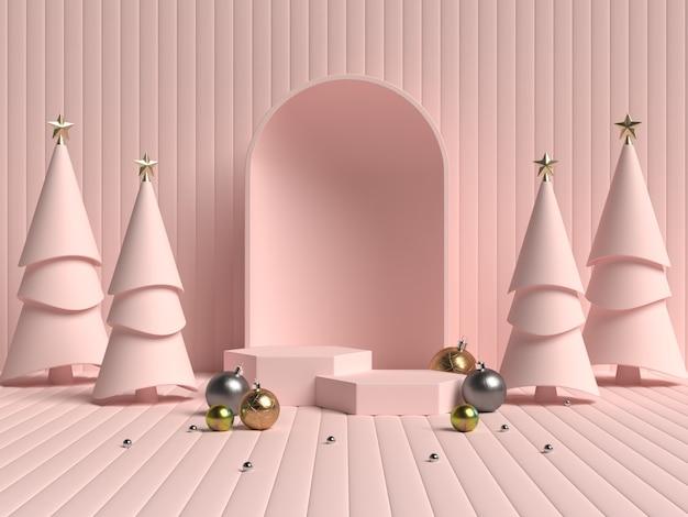 Representación 3d del podio de forma de geometría de escena abstracta