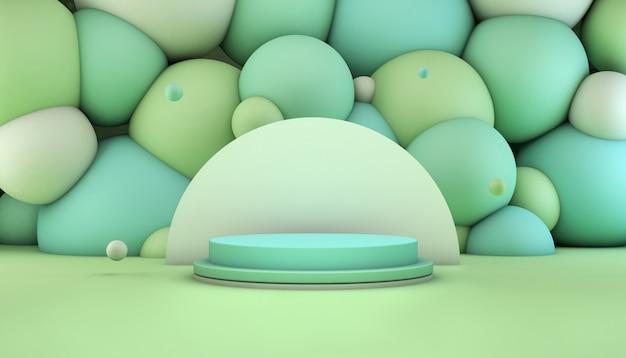 Representación 3d de un podio verde y turquesa con bolas en el fondo para la presentación del producto