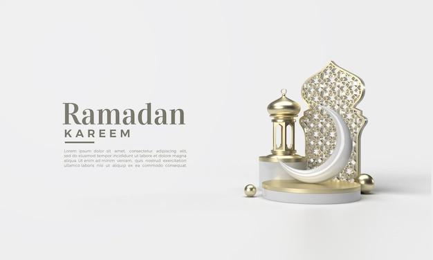 Representación 3d de ramadán kareem con adorno de tablón clásico