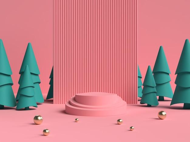 Representación 3d rosa y verde del podio de forma de geometría de escena abstracta para exhibición de productos