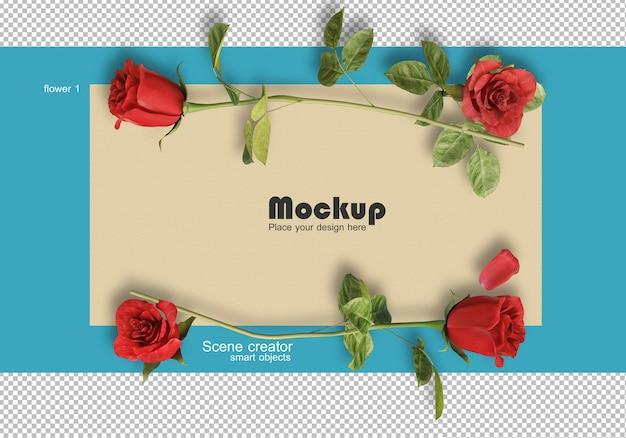 Representación 3d de rosas en tarjetas de san valentín