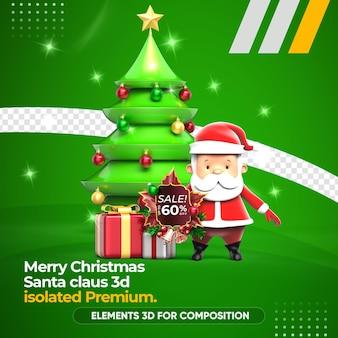 Representación 3d de santa claus y árbol de navidad