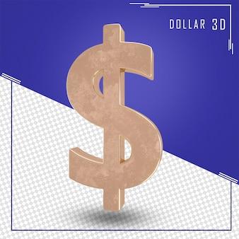 Representación 3d de signo de dólar con textura de oro aislado