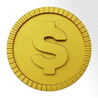 Representación 3d del símbolo de moneda del dólar de la moneda de oro aislada