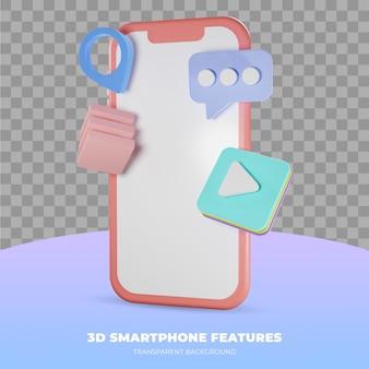 Representación 3d de smartphone aislado