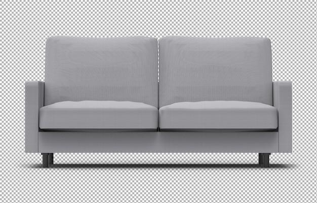 Representación 3d de sofá aislado