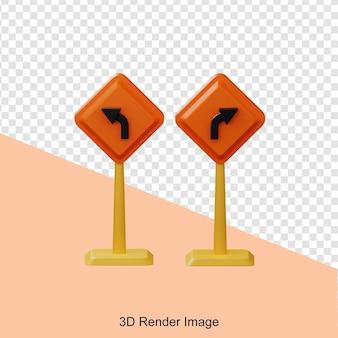 Representación 3d de tablero de dirección izquierda y derecha de construcción