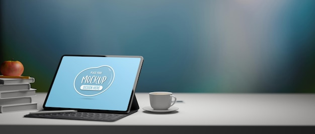 Representación 3d de tableta digital con pantalla de maqueta