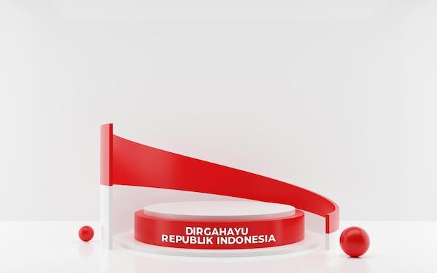 Representación 3d de la tarjeta de felicitación del día de la independencia feliz de indonesia del 17 de agosto