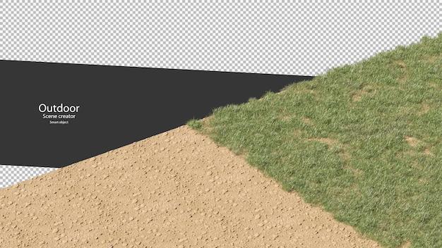 Representación 3d de varios pastos sobre grava