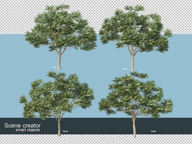Representación 3d de varios tipos de árboles.