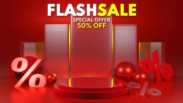 Representación 3d de la venta flash de la exhibición del podio rojo para la colocación de la presentación del producto