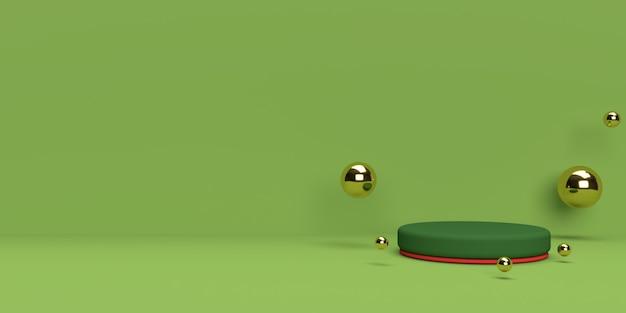 Representación 3d verde y dorado del podio de forma de geometría de escena abstracta para exhibición de productos