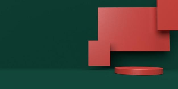 Representación 3d verde y rojo del podio de forma de geometría de escena abstracta para exhibición de productos