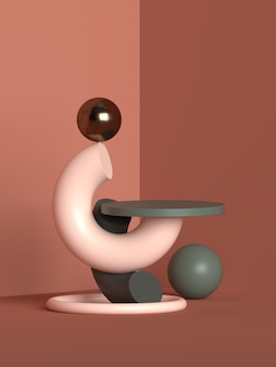 Representación abstracta del podio de la forma de la geometría de la escena