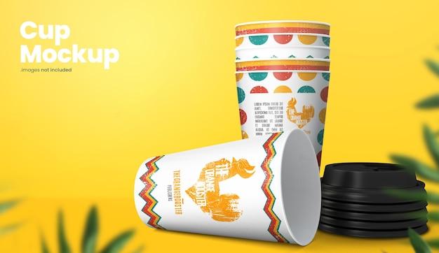 Representación colorida del diseño de la maqueta de la taza de papel