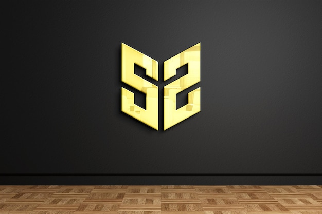 Representación de diseño de maqueta de logotipo de signo de pared dorada