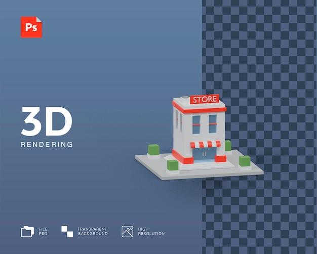 Representación de la ilustración del edificio de la tienda 3d