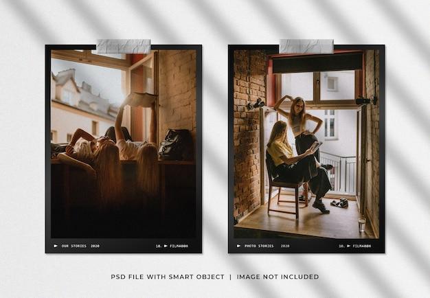 Representación de maqueta de marco de foto de retrato gemelo
