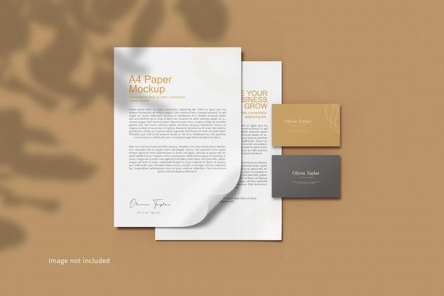 Representación de maqueta de papelería minimalista aislada