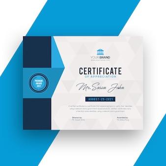 Representación de la plantilla de diseño de certificado