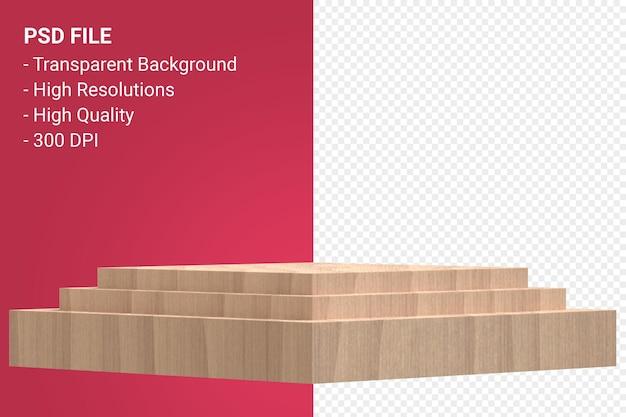 Representación del podio de madera