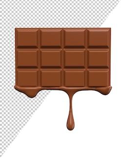 Representación realista 3d de salpicaduras de leche con chocolate