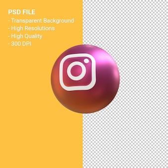 Representación de símbolo de globo 3d de logotipo de instagram aislado