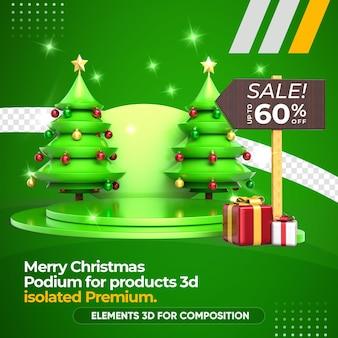 Representación de venta de productos, podio y árbol de navidad