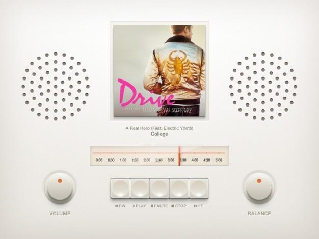Reproductor de música de coches de época psd