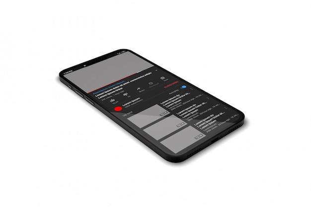 Reproductor de video de youtube en maqueta de teléfono inteligente