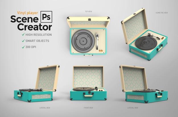 Reproductor de vinilo vintage. creador de escena. recurso de diseño.